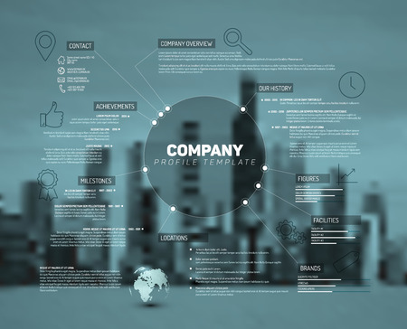 Company infographic overview design template with city photo in the back - teal version Vectores