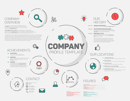 overview: Company infographic profile design template with modern hipster thin line icons (red and teal)
