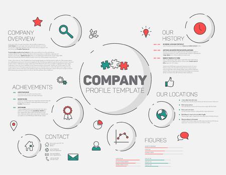 Firmenprofil Infografik Design-Vorlage mit modernen hipster dünne Linie Symbole (rot und blaugrün) Standard-Bild - 53827129