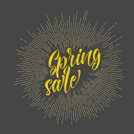 sunrays: Modern hipster spring sale - lettering with sunrays