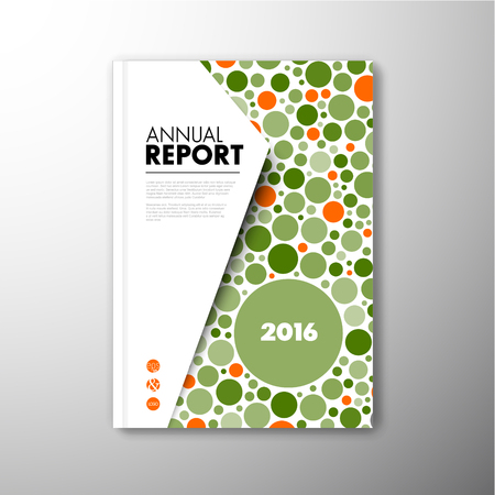 book design: Modern abstract brochure  book   design template with orange and green circles