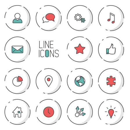 light shadow: Modern circle thin line icon collection - dual color (red and teal), light shadow