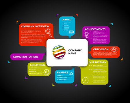 overview: Company infographic overview design template with colorful labels - dark version