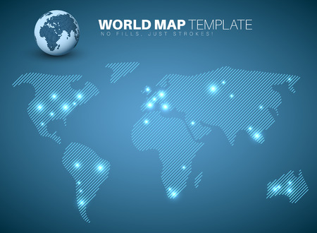 diagonal lines: World map template made from diagonal lines for your infographics reports