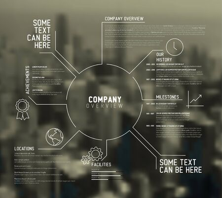 overview: Company infographic overview design template with city photo in the back
