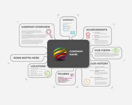 overview: Company infographic overview design template with colorful labels - light version Illustration