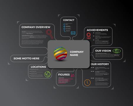 Company infographic overview. Company profile design template - dark version
