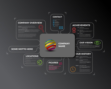 Company infographic overview. Company profile design template - dark version Illustration