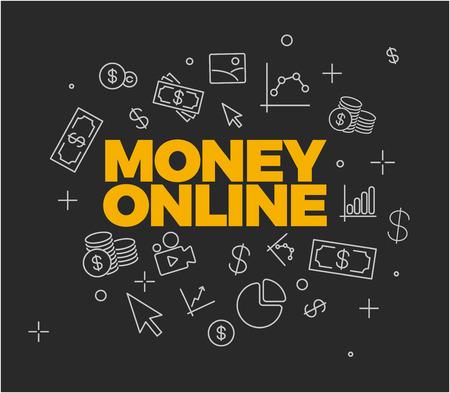transfer: Online money concept - abstract illustrative background - dark version Illustration