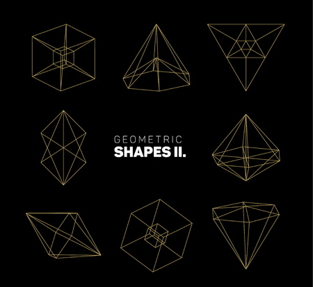 geometric shapes: abstract regular geometric shapes - golden on dark gray background