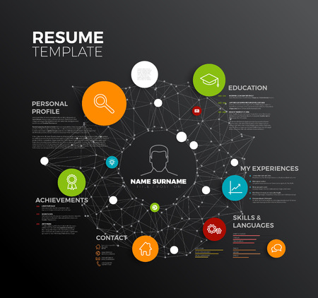 original minimalist cv / resume template - creative profile dark version