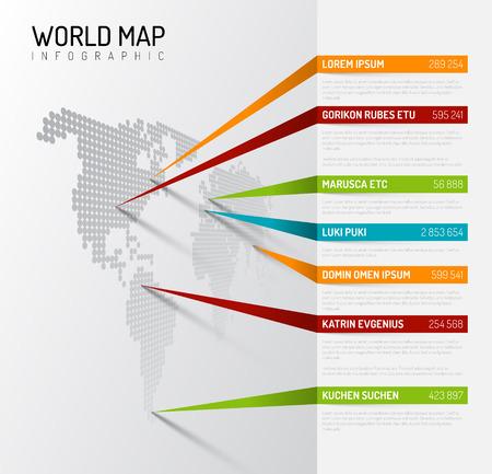 Light World map infographic sjabloon met wijzer markeringen (verticaal op de muur versie) Stockfoto - 55997890