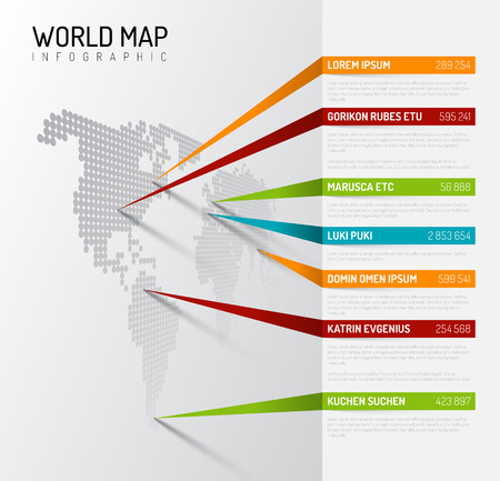 Light World map infographic template with pointer marks (vertical on the wall version) Vectores