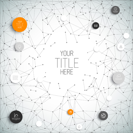 circles: abstract circles illustration  infographic network template with orange circles