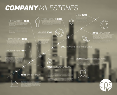 Infografik diagonal Timeline Berichtsvorlage mit Symbolen und verschwommen Stadt Hintergrund