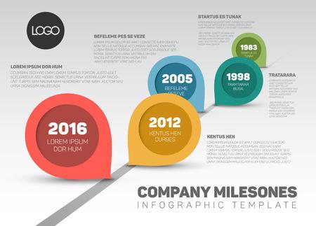 Infographic Company Milestones Timeline Template with retro pointers