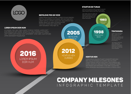 Infographic Company Milestones Timeline Template with retro pointers - dark version Çizim