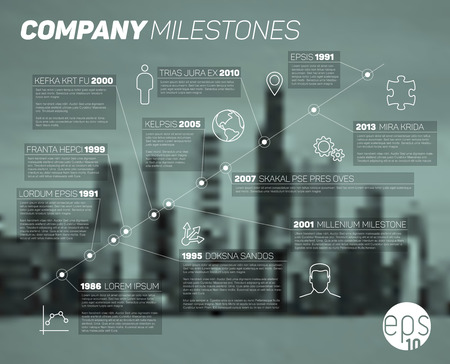 diagonal: Infographic diagonal timeline report template with icons and blurred city background