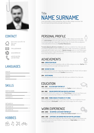 original minimalist cv  resume template - creative version on folded paper with clipped photo profile