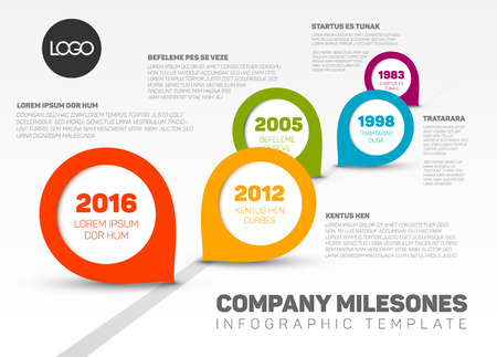 Infographic Company Milestones Timeline Template with fresh modern pointers