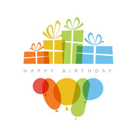 birthday presents: Happy birthday fresh illustration with presents and balloons
