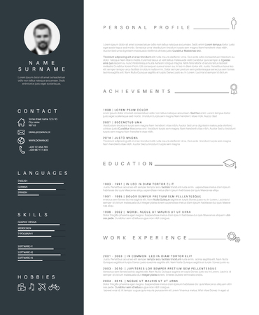 minimalist cv / resume template with nice typogrgaphy design. Иллюстрация