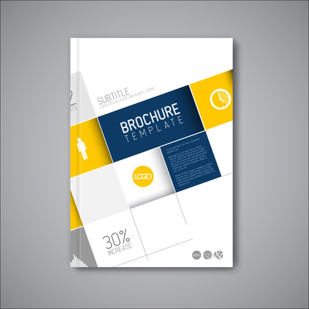 blue book: Modern abstract brochure or book  design template with big mosaic - blue and yellow