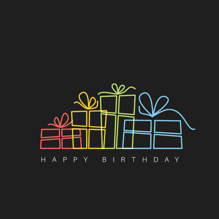 Dark Happy birthday fresh illustration with presents made by thin neon lines Ilustrace