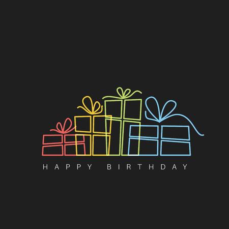Dark Happy birthday fresh illustration with presents made by thin neon lines Vettoriali