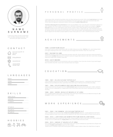 minimalist cv  resume template with nice typography design. Illustration
