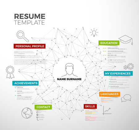 headings: original minimalist cv  resume template - creative version with colorful headings and icons