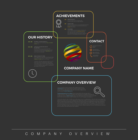 Company infographic overview design template with colorful boxes - dark version