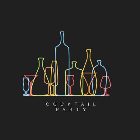 Donkere vers Cocktail party uitnodigingskaart met glazen en flessen gemaakt door dunne lijn Stockfoto - 57912898