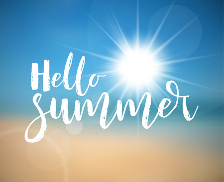 summer holiday: Summer holiday poster with hot summer sun, abstract beach in the background and lettering Hello Summer