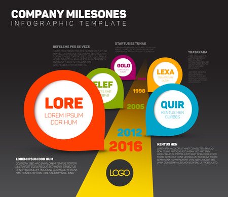 dividing line: dark Infographic Company Milestones Timeline Template with pointers on the road with yellow dividing line