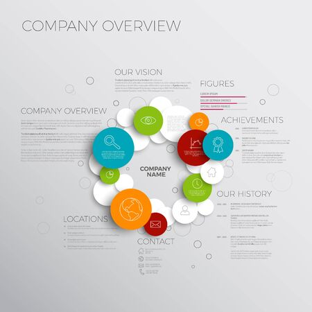 statement: Company infographic overview design template made from circles and icons Illustration