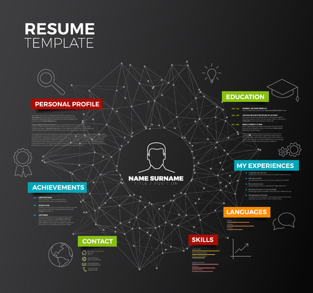 headings: dark original minimalist cv  resume template - creative version with colorful headings and icons Illustration