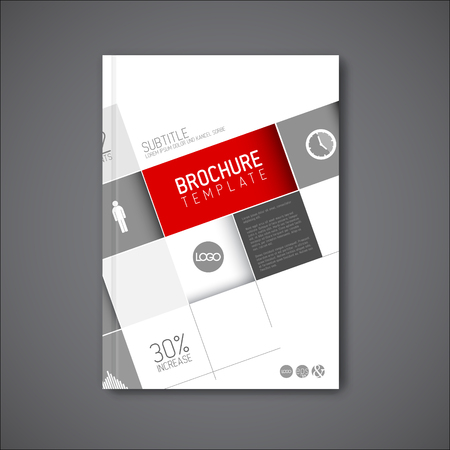diagonal: Modern abstract brochure  book  design template with big mosaic - red version