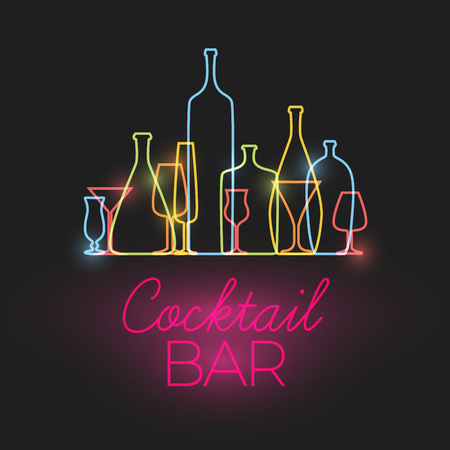 Fresh Cocktail bar neon sign with colorful glasses and bottles icons made by thin line Vectores