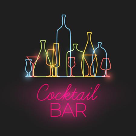 coquetel: Sinal do cocktail bar neon fresco com vidros coloridos e garrafas ícones feitos pela linha fina Ilustração