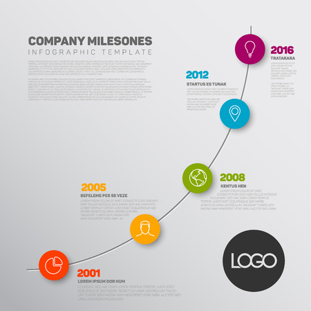 biggest: Vector Infographic timeline report template with the biggest milestones, icons, years and color buttons