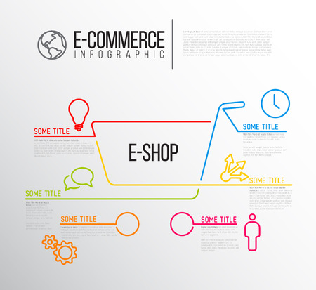 eshop: Vector e-commerce e-shop infographic report template made from lines and icons Illustration
