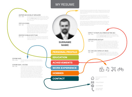 Vector original minimalist cv / resume template - creative version with lines connecting work experiences, education, personal info, achievements