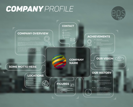 Wektor projektu infografika szablon przegląd firm - ciemna wersja ze wszystkimi ważnymi informacjami.