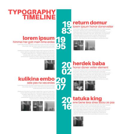 Vector Infografik typografische Timeline Berichtsvorlage mit den größten Meilensteine, Fotos, Jahre und Beschreibung