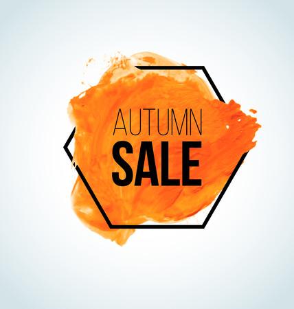 blots: Modern Orange Vector watercolor Autumn Sale Label with black hexagon border