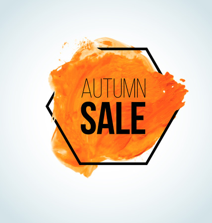 Modern Orange Vector watercolor Autumn Sale Label with black hexagon border