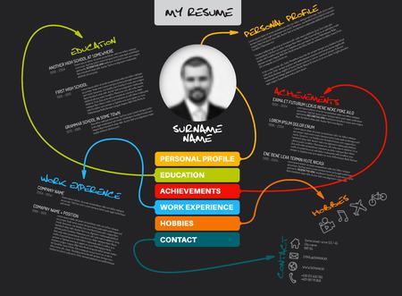 job application: Vector original minimalist cv  resume template - creative version with lines connecting work experiences, education, personal info, achievements - dark template version Illustration
