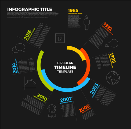 biggest: Vector Infographic circular timeline report template with the biggest milestones, icons and years - dark template version