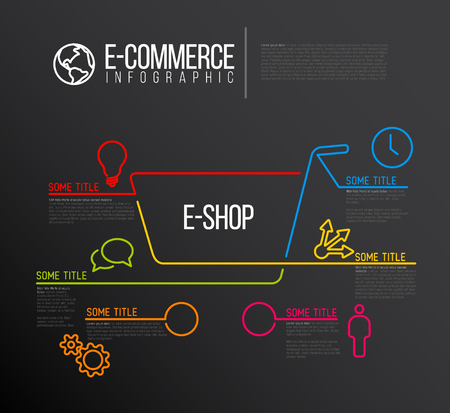 eshop: Vector e-commerce e-shop infographic report template made from lines and icons - dark template version